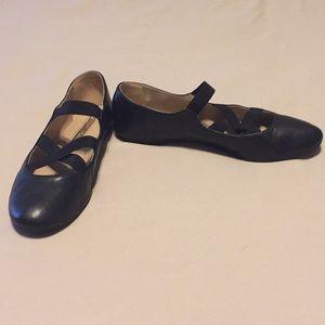 Audrey Brooke Strappy Black Ballet Flats